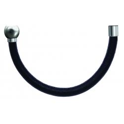 Bracelet combinable - Moitié - cuir italien noir - diamètre 5mm - longueur 10,25cm