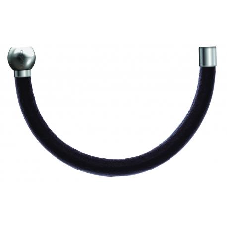 Bracelet combinable - Moitié - cuir italien marron foncé - diamètre 5mm - longueur 10,25cm
