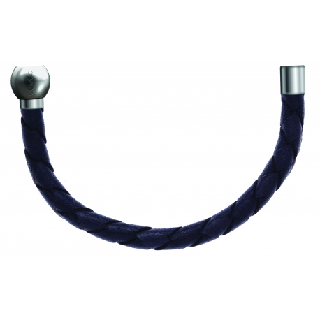 Bracelet combinable - Moitié - cuir tressé italien gris - diamètre 5mm - longueur 10,5cm