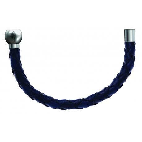Bracelet combinable - Moitié - cuir tressé italien bleu - diamètre 5mm - longueur 10,5cm
