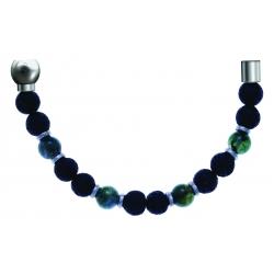 Bracelet combinable - Moitié - agate verte - pierre de lave 6mm - composants acier - longueur 10,75cm