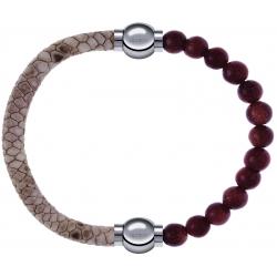 Apollon - Collection MiX Femme - cuir italien impression peau de serpent - diamètre 5mm - longueur 9,25cm + pierre de so…