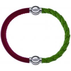 Apollon - Collection MiX Femme - cuir italien rouge - diamètre 5mm - longueur 9,25cm + cuir tressé italien vert clair - …