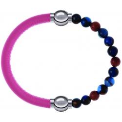 Apollon - Collection MiX Femme - cuir italien rose - diamètre 5mm - longueur 9,25cm + agate bleu foncé, bronzite, pierre…