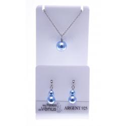 Parure argent rhodié 3g - collier 42cm + boucles d'oreille - perle swarovski bleu
