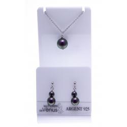 Parure argent rhodié 3g - collier 42cm + boucles d'oreille - perle swarovski imitation