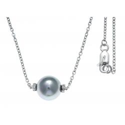 Collier argent rhodié 2,5g - boule nacre grise - zircons - 42+3cm