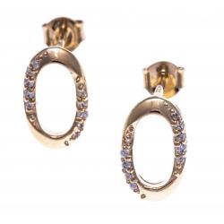 Boucles d'oreille plaqué or -  ovale - zircons