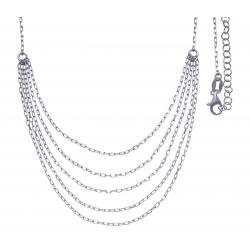 Collier argent rhodié 4,6g - 5-rangs - 42+5cm