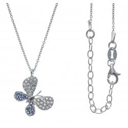 Collier argent rhodié 3,5g - papillons - zircons blancs et bleus - 40+5cm