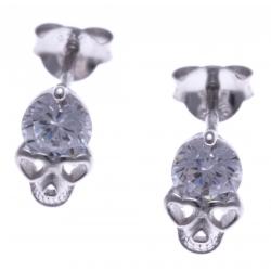 Boucles d'oreille argent rhodié 1,6g -  tête de mort - zircons