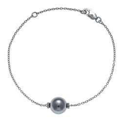 Bracelet argent rhodié 1,3g - boule nacre grise - zircons - 17+3cm