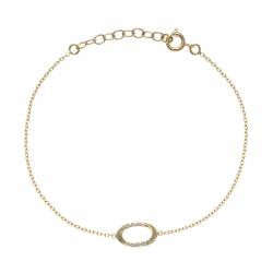 Bracelet plaqué or - ovale - zircons - 17+3cm