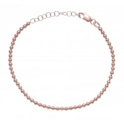 Bracelet argent rhodié rosé boules - 17+3cm