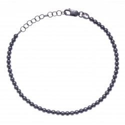 Bracelet argent rhodié 4,4g - ruthénium - boules - 17+3cm