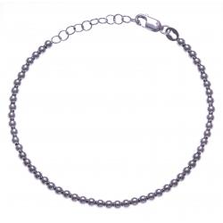 Bracelet argent rhodié 4,4g - boules - 17+3cm