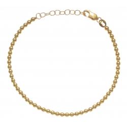Bracelet argent rhodié 4,4g - doré - boules - 17+3cm