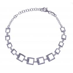 Bracelet argent rhodié 4,6g - carrés - 17+3cm