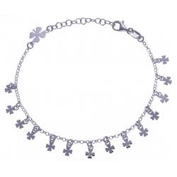 Bracelet argent rosé 3,3g - fleurs breloques - 17+3cm