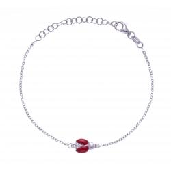 Bracelet argent rhodié 2g - coccinnelle - zircons - émail rouge - 14+5cm