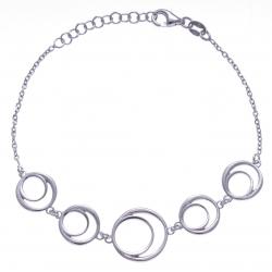 Bracleet argent rhodié 5g - ronds - 17+3cm