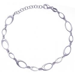 Bracelet argent rhodié 3,6g - ovales - 17+3cm