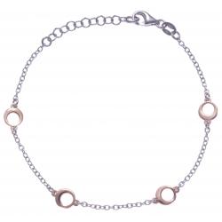 Bracelet argent rhodié 2,3g - 2 tons rhodié et rosé - ronds - 17+3cm