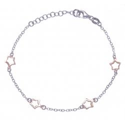 Bracelet argent rhodié 2,2g - 2 tons rhodié et rosé - étoiles - 17+3cm