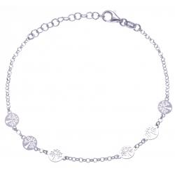 Bracelet argent rhodié 1,9g - 6 arbres de vies - 17+3cm