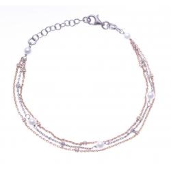 Bracelet argent rhodié 3,3g - 2 tons - rhodié et rosé - perles synthétiques - 17