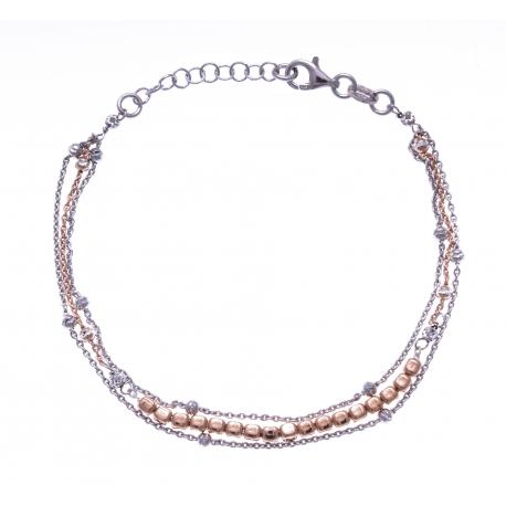 Bracelet argent rhodié 4,4g - 2 tons - rhodié et rosé - 2 fils - 17+3cm