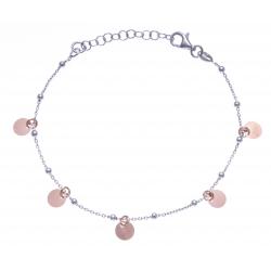 Bracelet argent rhodié 2,4g - 2 tons - rhodié et rosé - pampilles rondes - 17+3c