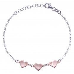 Bracelet argent rhodié 2,8g - 2 tons - cœurs rosés - 17+3cm