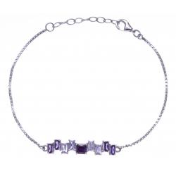 Bracelet argent rhodié 3,3g - zircons - 17+3cm