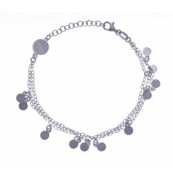 Bracelet argent rhodié 3,4g - 3 fils - pampilles - 17+3cm