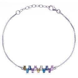 Bracelet argent rhodié 2,8g - zircons - 17+3cm