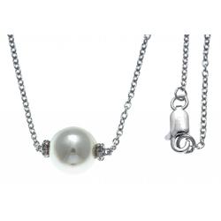 Collier argent rhodié 2,5g - boule nacre blanche - zircons - 42+3cm