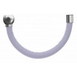 Apollon - Collection MiX - Bracelet acier (moitié) cuir italien blanc - diamètre 5mm - longueur 9,25cm