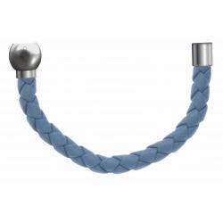 Apollon - Collection MiX - Bracelet acier (moitié) cuir tressé italien bleu clair - diamètre 5mm - longueur 9,25cm