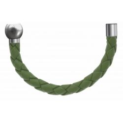 Apollon - Collection MiX - Bracelet acier (moitié) cuir tressé italien vert clair - diamètre 5mm - longueur 9,25cm