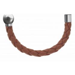 Apollon - Collection MiX - Bracelet acier (moitié) cuir tressé italien marron - diamètre 5mm - longueur 9,25cm