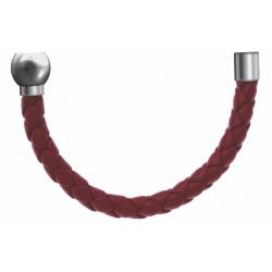 Apollon - Collection MiX - Bracelet acier (moitié) cuir tressé italien rouge - diamètre 5mm - longueur 9,25cm