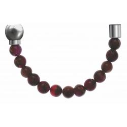 Apollon - Collection MiX - Bracelet acier (moitié) agate teintée en rouge, bronzite,pierre de soleil-diamètre 6mm-longueur9,25cm
