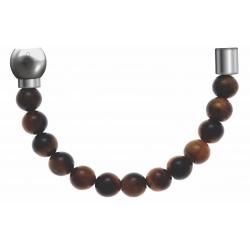 Apollon - Collection MiX - Bracelet acier (moitié) œil de tigre - diamètre 6mm - longueur 9,25cm