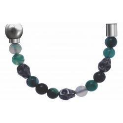 Apollon - Collection MiX - Bracelet acier (moitié) agate teintée - composants acier - longueur 9,25cm