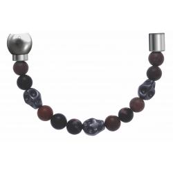 Apollon - Collection MiX - Bracelet acier (moitié) rhodonite - composants acier - longueur 9,25cm