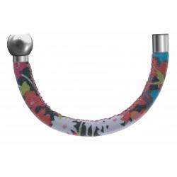 Apollon-Collection MiX-Bracelet acier-moitié-cuir italien ImpressionFleurs multicolores dominanteRose-diamètre5mm-longueur9,25cm