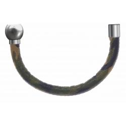 Apollon - Collection MiX - Bracelet acier (moitié) cuir italien impression militaire kaki, jaune - diamètre 5mm-longueur 9,25cm