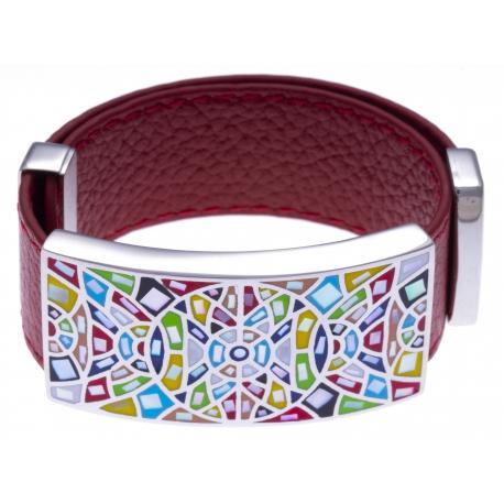 Bracelet acier - émail - nacre - cuir rouge - largeur 2cm - longueur 23,5cm