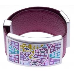 Bracelet acier - émail - nacre - cuir fushia - largeur 3cm - longueur 23,5cm